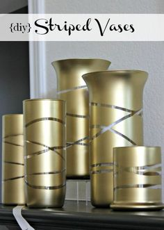Hi Sugarplum | Glam up some Dollar Store glass vases with this magic trick! Gold vases for Fall