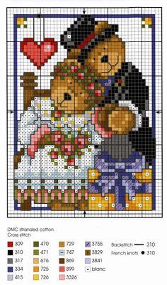 Schemi a punto croce gratuiti per tutti: Schema punto croce per bambini: teneri orsetti