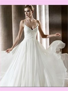 White A Line V-Neck Chiffon Wedding Dress AWD420157 I like the criss-crossy bodice and the overall swirliness here