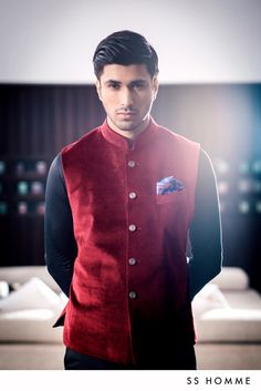 Crimson Velvet Bandi by #SSHOMME #wedding #menswear #nehru #jacket