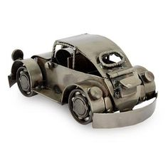Iron sculpture, 'Rustic Vintage Car' - Mexico Handmade Recycled Auto Parts Metal Vintage Beetle (image 2b)