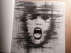 Drow, drowing, deepdrow, art, artist, artmood, artlife, drowlife, face, girl, shout, dark