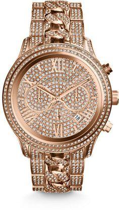 $355 Michael Kors Lindley Pave Rose Gold-Tone Chronograph Ladies Watch
