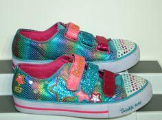 Skechers Twinkle Toes Girls 4 Light Up Sneaker Shoe Shuffle Triple Up Glitter #SKECHERS #SkechersTwinkleToesGirlsLightUpSneakerShoe