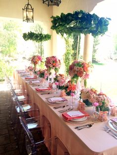 La Tavola Fine Linen Rental: Tuscany Peach with Tuscany Camelia and Watercolors Orchid Napkins | Event Planning and Design: Sugar Branch Events