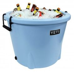 The YETI Tank is armored to hold cold like no other ice bucket and holds up to 60 long neck bottles, 96 aluminum cans, 1 keg, 51 blue crabs, 24 mullet & menhaden, 98 slices of watermelon, 20 gallons of liquid, or 2 bushels of oysters. The YETI is only available in store, so stop on by! | southtexastack.com