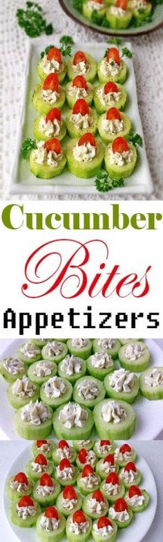 These impressive little Cucumber Bites Appetizers Recipe are fantastic for a number of reasons. They come together quickly, making them perfect for entertaining. Beautifully colored, taste great and still have essential nutrients. Party Finger Foods, Finger Food Appetizers, Snacks Für Party, Holiday Appetizers, Appetizer Recipes, Holiday Recipes, Halloween Appetizers, Delicious Appetizers, Party Recipes