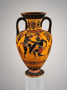 Terracotta neck-amphora (jar)  Attributed to the Edinburgh Painter     Period:      Archaic  Date:      ca. 500 B.C.  Culture:      Greek, Attic  Medium:      Terracotta  Dimensions:      H. 5 3/4 in. (14.6 cm.)  Classification:      Vases