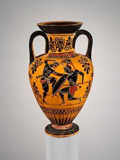 Terracotta neck-amphora (jar)  Attributed to the Edinburgh Painter     Period:      Archaic  Date:      ca. 500 B.C.  Culture:      Greek, Attic  Medium:      Terracotta  Dimensions:      H. 5 3/4 in. (14.6 cm.)  Classification:      Vases