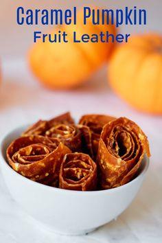 Caramel Pumpkin Fruit Leather Recipe #PumpkinSpice #FruitLeather #FruitRollUps Savory Pumpkin Recipes, Healthy Vegetable Recipes, Fruit Recipes, Healthy Cooking, Fall Recipes, Delicious Recipes, Vegetarian Recipes, Snack Recipes, Yummy Food
