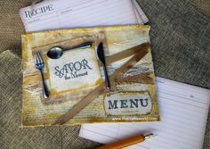 Made for Canvas Corp – Save a recipe theme, this canvas bag can hold up to 20 recipe cards. It is decorated with inks, canvas shapes and burlap. Cutlery used is metallic. Find materials and a tutororial on how to make below. More projects on Canvas Corp blog. Materials used Canvas rectangle shape Vintage recipe …