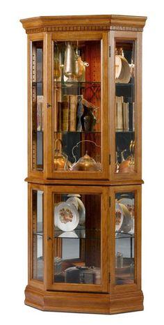 Lorraine Oak Corner Curio Cabinet