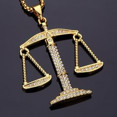 Top-quality Justice Balance Scales Pendant Fashion Charm Women Pendants Necklace Bling Lucky Jewelry For HipHop Libra Necklace, Men Necklace, Pendant Necklace, Bling, Stainless Steel Necklace, Gold Fashion, Men Fashion, Chains For Men, E Bay