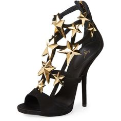 Giuseppe Zanotti Alien Star Cage Sandal (6,365 CNY) ❤ liked on Polyvore featuring shoes, sandals, black, caged high heel sandals, black leather shoes, black cage sandals, embellished sandals i high heel shoes