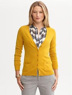 Grosgrain button cardigan   Banana Republic - found similar style & color at Target (Merona collection) for a lot less money.  :)