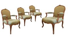 A set of four Louis XV Beechwood Fauteuils by Louis XV Beechwood Fauteuils by Étienne Meunier (fl. State Room, Getty Museum, Types Of Furniture, Museum Collection, Antique Furniture, Sun Lounger, Armchair, Dining Chairs, Antiques