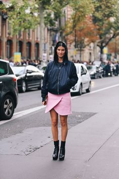 Dress up you sleek bomber with a cheeky wrap skirt.