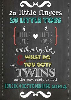 TWINS Pregnancy Announcement Chalkboard by LCODesignandPaperie