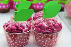 Apple of our Eye party by Bloom Designs: candy cups filled with M