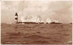 Isle of Wight, The Needles Lighthouse 1938 Needles Isle Of Wight, Beach Scenes, Lighthouses, Mount Rushmore, Tent, Animation, Mountains, Travel, Ebay
