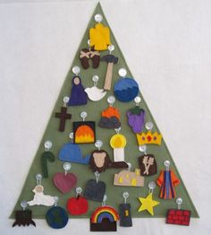 Jesse Tree Completed--using a Jesse Tree instead of an advent calendar to teach kids the whole redemptive story of the Bible Christmas Crafts For Kids To Make, Holiday Crafts, Merry Christmas, Christmas Ideas, Christmas Goodies, Christmas 2017, Holiday Ideas, Advent Season, Happy Birthday Jesus