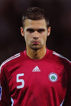 Oskars Klava of Latvia prior to the FIFA 2010 World Cup Group 2 Qualifier between Latvia and Switzerland at the Skonto stadium on September 9, 2009 in Riga, Latvia.