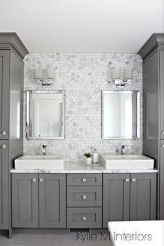 Chelsea Gray, Budget Bathroom, Bathroom Renovations, Bathroom Inspo, Bathroom Inspiration, Kitchen Remodeling, Home Staging, Benjamin Moore, Grey Bathrooms