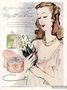 Coty (Perfumes) 1943 Muguet des Bois, lily of the valley, Eric (Carl Erickson) Vintage Advertisements, Vintage Ads, Vintage Posters, Vintage Items, Fashion Illustration Vintage, Beauty Illustration, Estilo Pin Up, Vintage Perfume, Lily Of The Valley