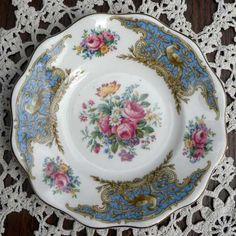 Vintage side plate in Montrose Blue by Foley bone china Very pretty and hand painted vintage tea plate from Staffordshire Decorated with pink flowers
