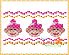 Baby Kay's Appliques - Sock Monkey Girl Faux Smock 4x4, 7x3, 7x5, $4.00 (http://www.babykaysappliques.com/sock-monkey-girl-faux-smock-4x4-7x3-7x5/)
