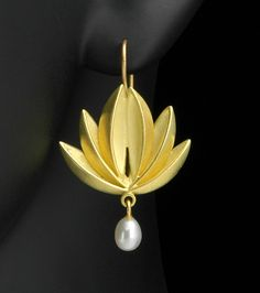 Lotus Pearl Drop by Thea Izzi. Cupped petals of 18K gold with freshwater pearl dangles. 18K gold wires.