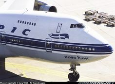 """Olympic Airways Boeing 747-212B SX-OAD """"Olympic Flame"""" at Toronto-Pearson, August 1998. (Photo: Gary Watt)"""