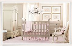 white & pink baby room