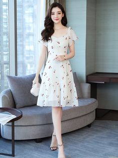 Wholesale Cherry Printed Chiffon Ladies Dress from China to Japan Dress Outfits, Casual Dresses, Fashion Dresses, Short Sleeve Dresses, Net Dresses, Dresses Dresses, Dance Dresses, Print Chiffon, Winter Dresses