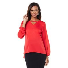 """Wendy Williams """"V"""" Neck Pullover Blouse"""