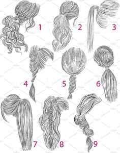 Ponytail Vector Hairstyles Set # Braids # Loose # Inspiration # Perfect, Ponytail Vector Hairstyles Set # Braids # Loose # Inspiration # Perfect, There's really no disadvantage to flipping via a springtime head of hair pattern report. Ponytail Drawing, Girl Hair Drawing, Braid Drawing, Hair Styles Drawing, How To Draw Braids, How To Draw Hair, Cool Art Drawings, Art Drawings Sketches, Hair Drawings