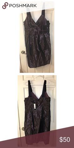 Brownish/Purpleish Dress Dress in a shiner brown with a bit of purple. Black straps. Has pockets! Would be great for a wedding. Size 12. Never worn. Open to all reasonable offers. Banana Republic Dresses Mini
