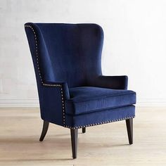 blue and white wingback chair slipcover - Google Search
