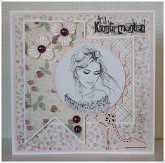 Velkommen inn Confirmation Cards, Mini Albums, Vintage World Maps, Girly, Frame, Communion, Scrapbooking, Feminine, Girly Girl