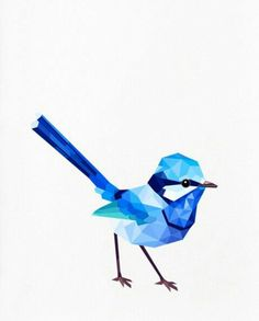 Geometric illustration, Splendid Fairy Wren (male), Bird print, Original illustration by tinykiwi prints Bluebird Tattoo, Tattoo Bird, Tattoo Animal, Swallow Tattoo, Magpie Tattoo, Geometric Bird, Geometric Shapes, Art Et Design, Graphic Design