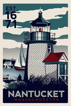 """this is 100% original artwork Nantucket Massachusetts Light House Retro Vintage nautical Screen Print poster Cape Cod hand screen printed 3 color design. ARTWORK SIZE IS 12""""X18"""" PRINTED ON VANILLA HEAVY COLD PRESSED ARTBOARD (VERY THICK) LIMITED RUN OF 50 PRINTS SIGNED AND NUMBERED!  ADDITIONAL SIZES ARE AVAILABLE, PLEASE CONTACT ME IF YOU ARE INTERESTED.  Want it Professionally Framed?  https://www.etsy.com/listing/151237310/have-any-screen-printed-poster-sold-here?ref=shop_home_active…"""