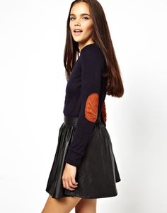 Image 1 ofGlamorous Marl Jumper In Fine Jersey With Elbow Patch