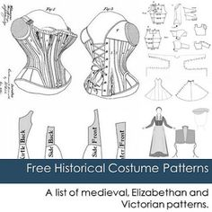 list of free historical costume patterns including medieval ...