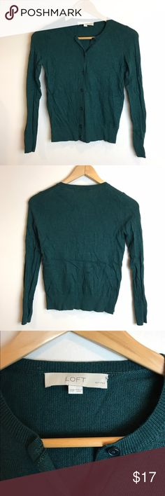 Dark green cardigan Dark green crew neck cardigan. Only worn a couple of time, in perfect condition. LOFT Sweaters Cardigans