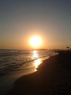 An amazing sunset in Montenegro, Ulcinj on Miami Beach.