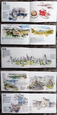 New Travel Journal Drawing Urban Sketchers Ideas Voyage Sketchbook, Travel Sketchbook, Watercolor Sketchbook, Art Sketchbook, Buch Design, Diy Design, Sketch Journal, Travel Drawing, Urban Sketchers