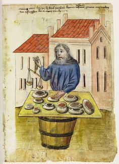 Illustration of a Spice Merchant, Berthold Uslaunb - From the House Books of the Nuremberg Twelve Brothers Foundation, records of a charitable foundation started in the city of Nuremberg in 1388. The foundation would take 12 poor and needy people and provide them with training in a trade. Starting around 1425 their books would contain one-page illustration of the people they had helped, usually giving their name and what profession they were in. - Nuremburg, Germany - c. 1425-1450