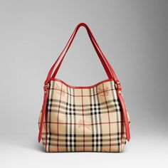 Small Haymarket Check Tote with Military Red Leather Trim