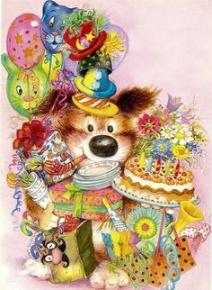 Lisi Martin Happy Birthday Images, Happy Birthday Me, Birthday Greetings, Birthday Celebration, Birthday Pins, Birthday Wishes, Birthday Cards, Christmas Illustration, Cute Illustration