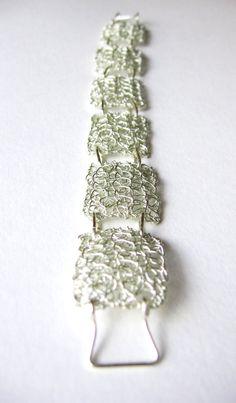 Silver wire crochet bracelet double layer handmade by Uneeck Wire Crochet, Crochet Stitches, Tarnished Silver, Crochet Bracelet, Wire Weaving, Wire Crafts, Wire Art, Handmade Silver, Wire Jewelry